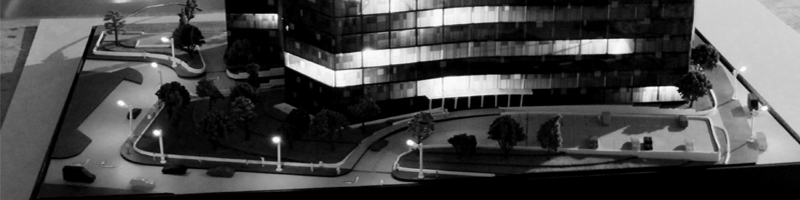 Iluminated Office Building Architectural Scale Model HEADER