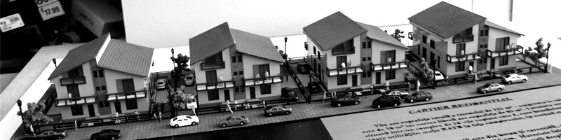 Row Houses in an Residential Area Scale Model HEADER